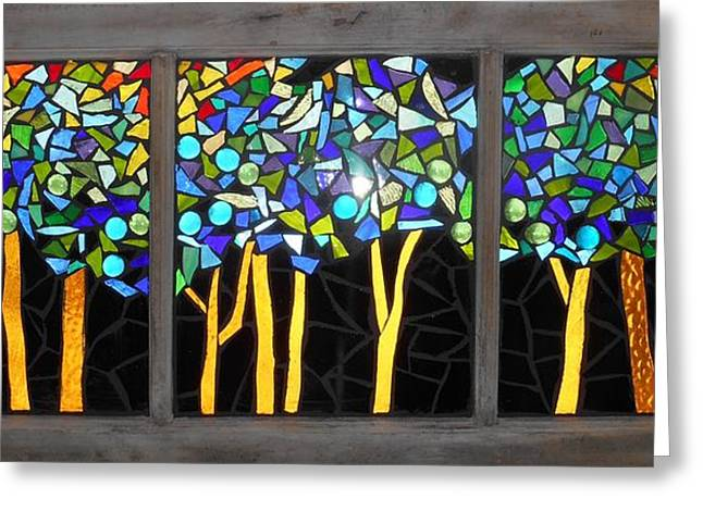 Mosaic Glass Greeting Cards - Mosaic Stained Glass - Dark Forest Greeting Card by Catherine Van Der Woerd