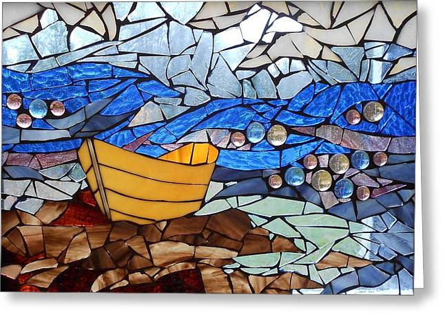 Mosaic Stained Glass - Dory  Greeting Card by Catherine Van Der Woerd