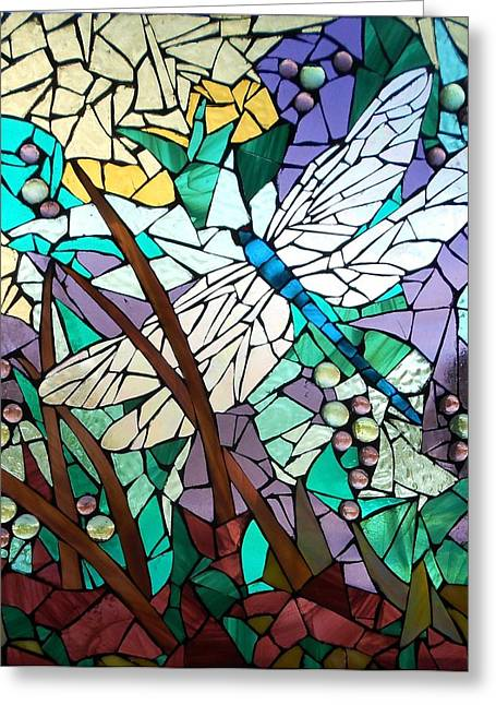 Flying Glass Greeting Cards - Mosaic Stained Glass - Dragonfly 3 Greeting Card by Catherine Van Der Woerd