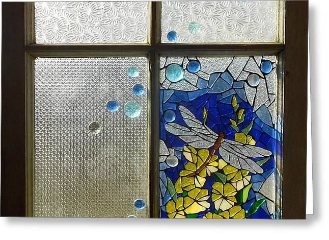 Mosaic Stained Glass - Dragonfly In The Window Greeting Card by Catherine Van Der Woerd