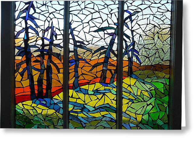 Grass Glass Art Greeting Cards - Mosaic Stained Glass - Dusk Greeting Card by Catherine Van Der Woerd