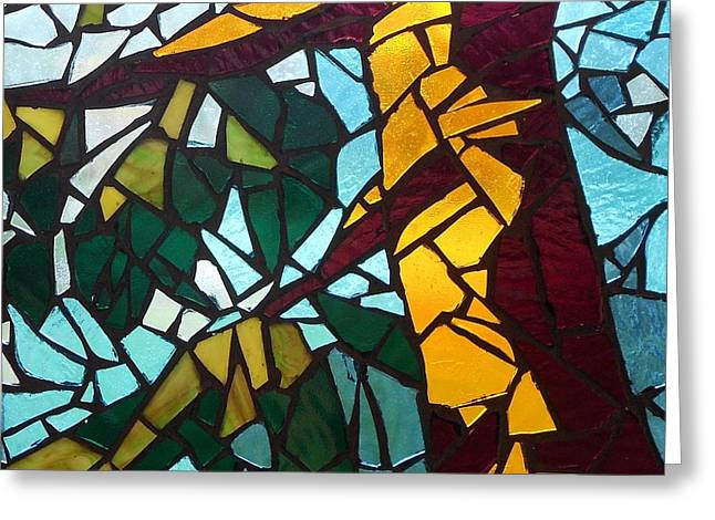 Mosaic Stained Glass - First tree Greeting Card by Catherine Van Der Woerd