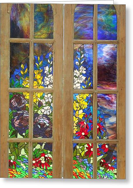 Antique Glass Greeting Cards - Mosaic Stained Glass - Flower Garden Greeting Card by Catherine Van Der Woerd