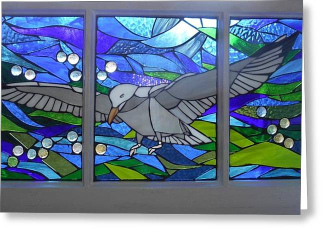 Sea Birds Glass Greeting Cards - Mosaic Stained Glass - Free as a Bird Greeting Card by Catherine Van Der Woerd