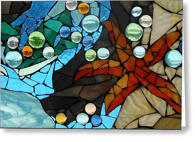 Treasure Glass Greeting Cards - Mosaic Stained Glass - Low Tide Greeting Card by Catherine Van Der Woerd