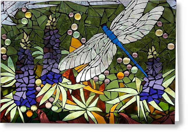 Green Leafs Glass Art Greeting Cards - Mosaic Stained Glass - Lupins and dragonfly Greeting Card by Catherine Van Der Woerd