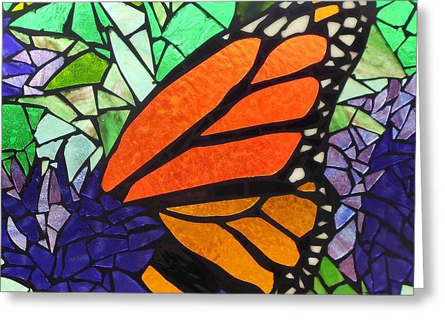Green Leafs Glass Art Greeting Cards - Mosaic Stained Glass - Last Episode Greeting Card by Catherine Van Der Woerd
