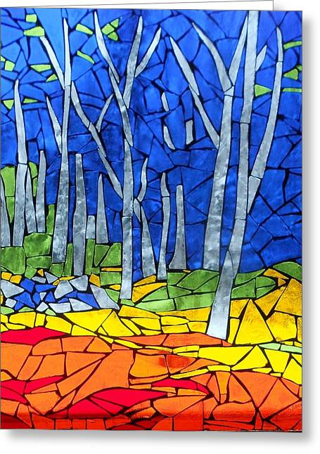 Coloured Glass Art Greeting Cards - Mosaic Stained Glass - My Woods Greeting Card by Catherine Van Der Woerd
