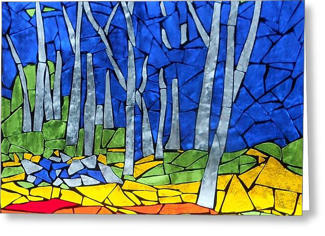 Birch Tree Glass Greeting Cards - Mosaic Stained Glass - My Woods Greeting Card by Catherine Van Der Woerd