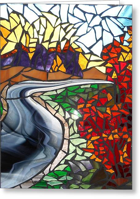 Fall Trees Glass Greeting Cards - Mosaic Stained Glass - Road to Bear River Greeting Card by Catherine Van Der Woerd