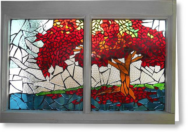 Fall Trees Greeting Cards - Mosaic Stained Glass - Shades Of Red Greeting Card by Catherine Van Der Woerd