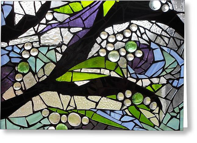 Green Leafs Glass Art Greeting Cards - Mosaic Stained Glass - Spring Greeting Card by Catherine Van Der Woerd