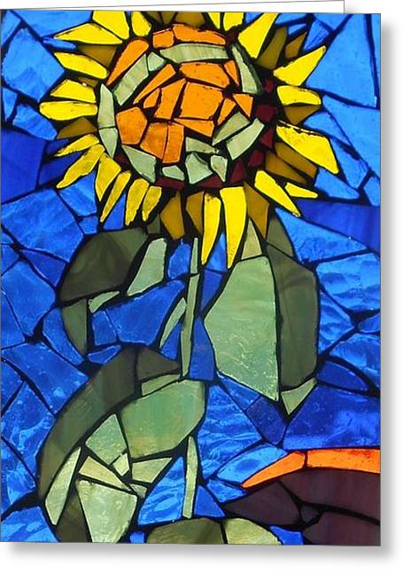 Yellow Glass Greeting Cards - Mosaic Stained Glass - Sunflower Greeting Card by Catherine Van Der Woerd