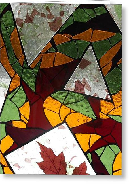 Fall Trees Glass Greeting Cards - Mosaic Stained Glass - The Last to Fall Greeting Card by Catherine Van Der Woerd