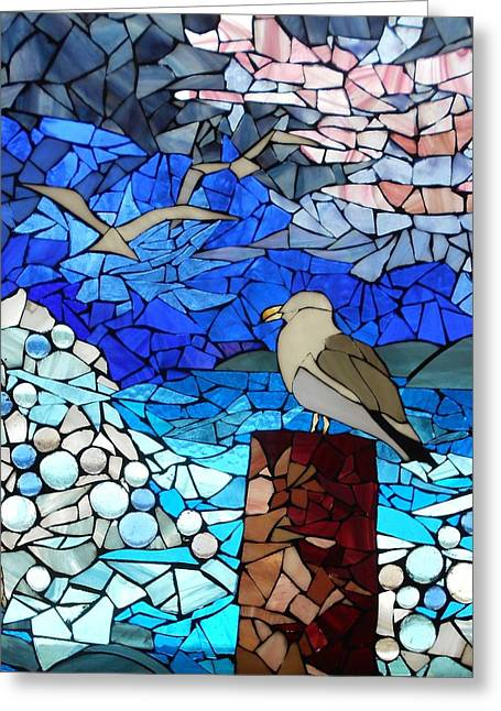 Sea Birds Glass Greeting Cards - Mosaic Stained Glass - Threes a crowd Greeting Card by Catherine Van Der Woerd