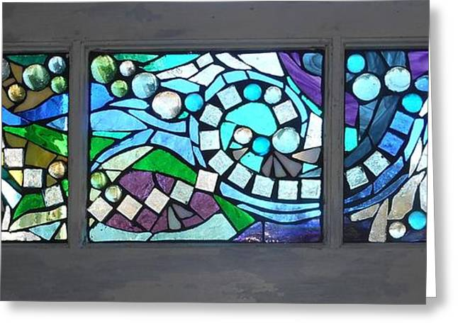 Blue Green Water Glass Greeting Cards - Mosaic Stained Glass - Water Abstract Greeting Card by Catherine Van Der Woerd