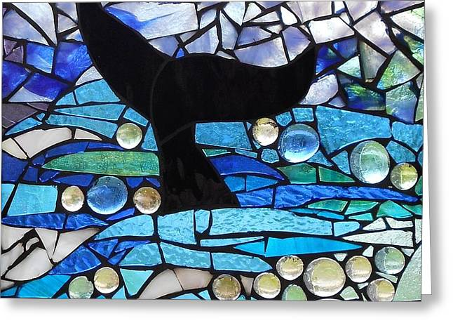 Mosaic Stained Glass - Whale Tail Greeting Card by Catherine Van Der Woerd