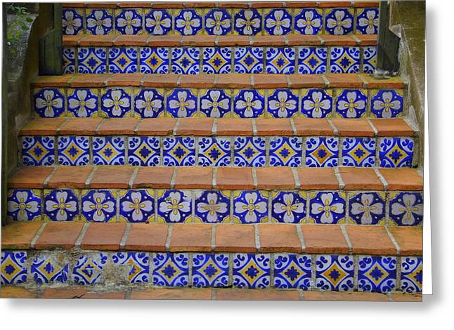 Flight Of Stairs Greeting Cards - Mosaic steps Greeting Card by Laurie Perry