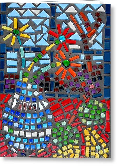 Flower Still Life Glass Art Greeting Cards - Mosaic Still Life Greeting Card by Caroline Street