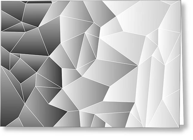 Geometric Effect Greeting Cards - Mosaic tiles in greys Greeting Card by Sylvie Bouchard