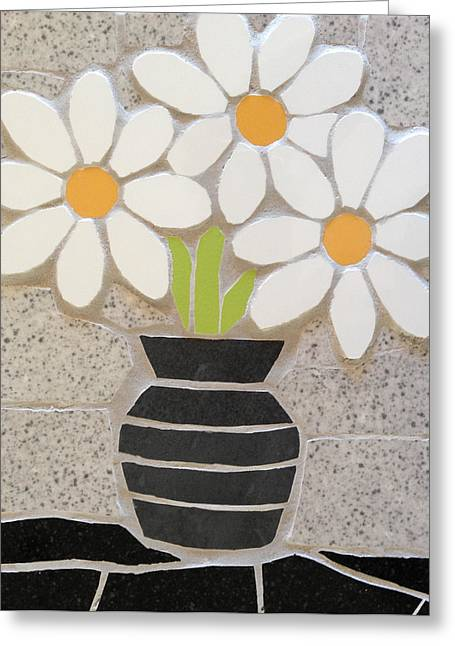 Vase Of Flowers Ceramics Greeting Cards - Mosaic vase of daisies Greeting Card by Felicity Ball