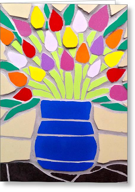 Mosaic Ceramics Greeting Cards - Mosaic vase of multicoloured tulips Greeting Card by Felicity Ball