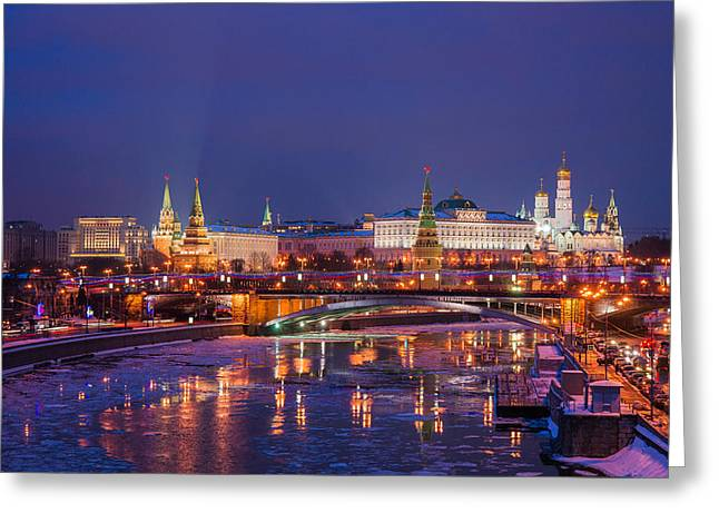 Moscow Kremlin And Big Stone Bridge At Winter Night - Featured 3 Greeting Card by Alexander Senin
