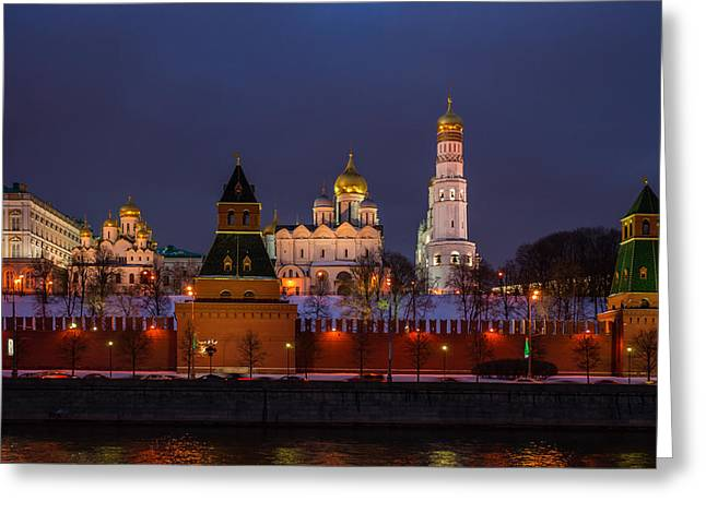 Cupola Greeting Cards - Moscow Kremlin Cathedrals At Night - Featured 3 Greeting Card by Alexander Senin