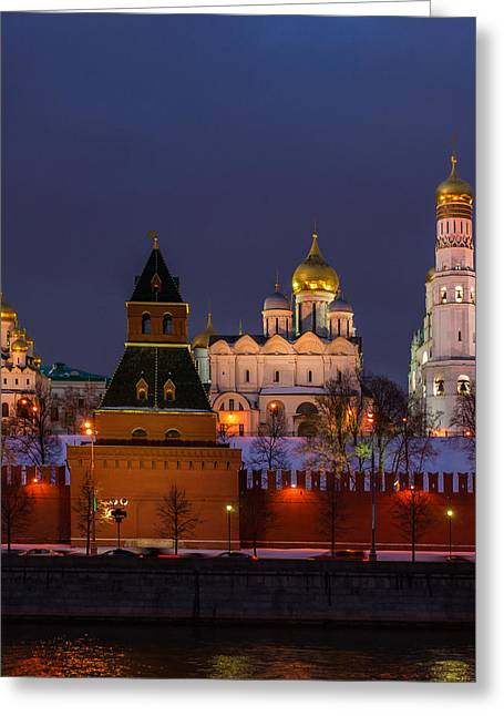 Cupola Greeting Cards - Moscow Kremlin Cathedrals At Night - Square Greeting Card by Alexander Senin