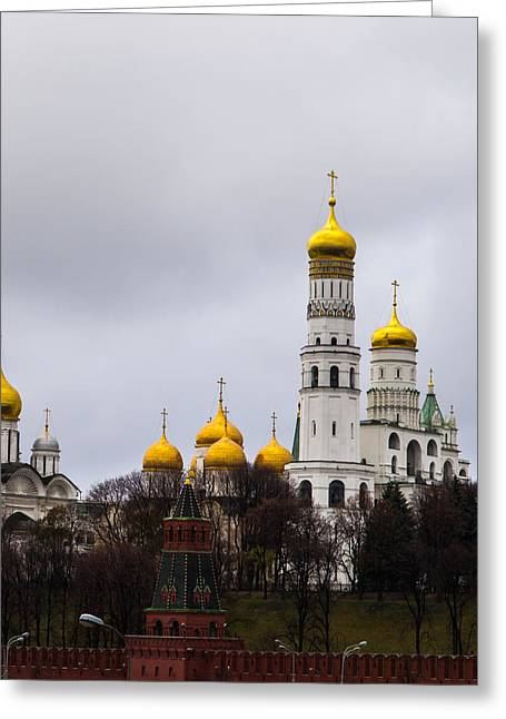 Archangel Greeting Cards - Moscow Kremlin Cathedrals - Square Greeting Card by Alexander Senin