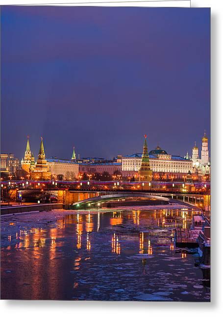 Civilization Greeting Cards - Moscow Kremlin Illuminated - Square Greeting Card by Alexander Senin