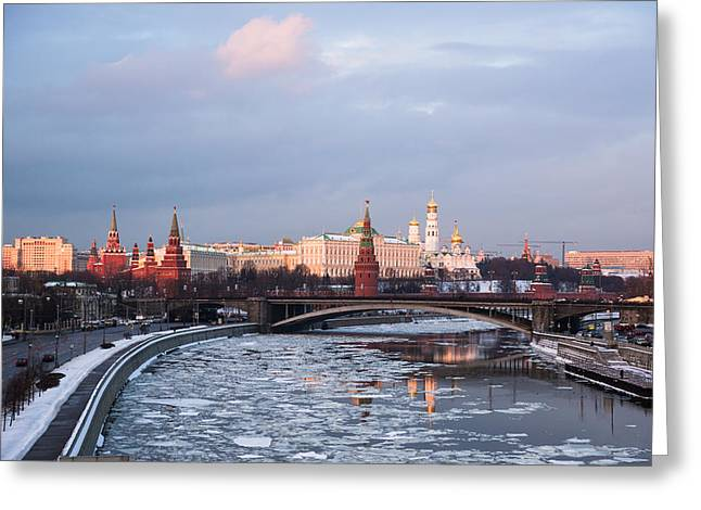 Moscow Kremlin In Winter Evening - Featured 3 Greeting Card by Alexander Senin