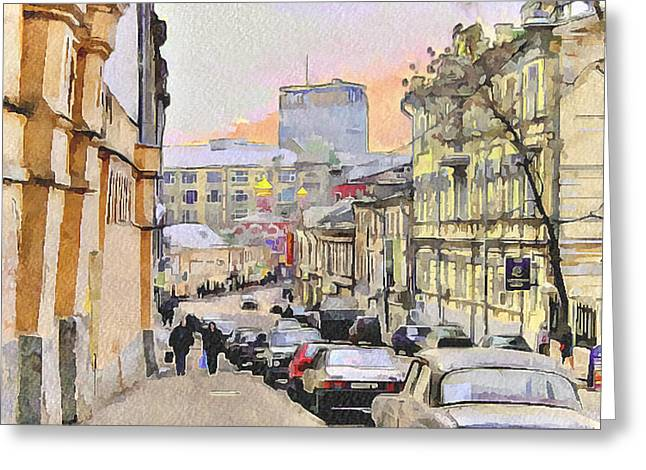 Moscow Digital Greeting Cards - Moscow Old Streets 3 Greeting Card by Yury Malkov