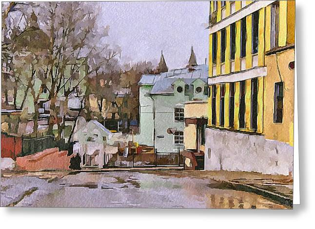 Moscow Digital Greeting Cards - Moscow Old Streets 30 Greeting Card by Yury Malkov