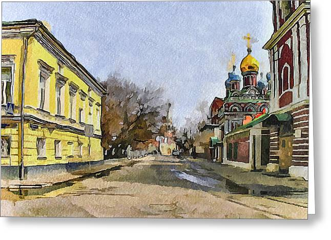 Moscow Digital Greeting Cards - Moscow Old Streets 8 Greeting Card by Yury Malkov