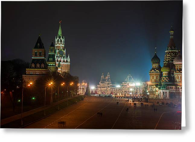 Cupola Greeting Cards - Moscow Red Square At Winter Night Greeting Card by Alexander Senin
