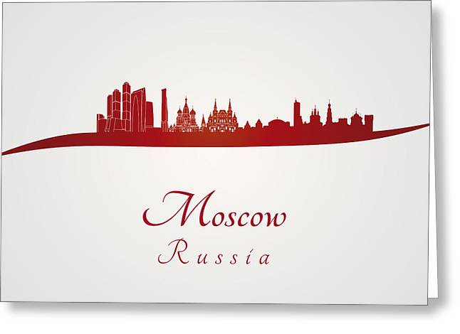Moscow Digital Greeting Cards - Moscow skyline in red Greeting Card by Pablo Romero