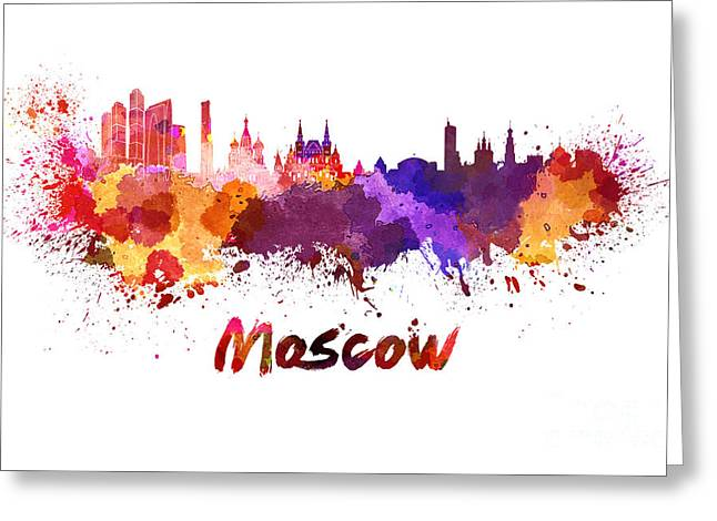 Moscow Skyline In Watercolor Greeting Card by Pablo Romero