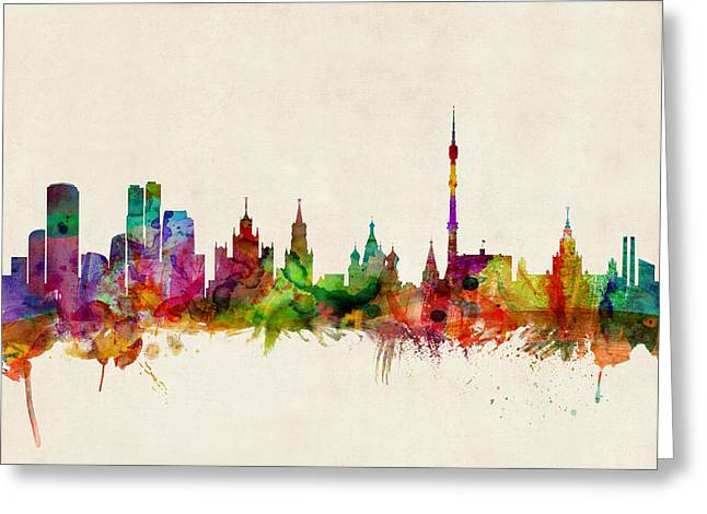 Silhouette Art Greeting Cards - Moscow Skyline Greeting Card by Michael Tompsett