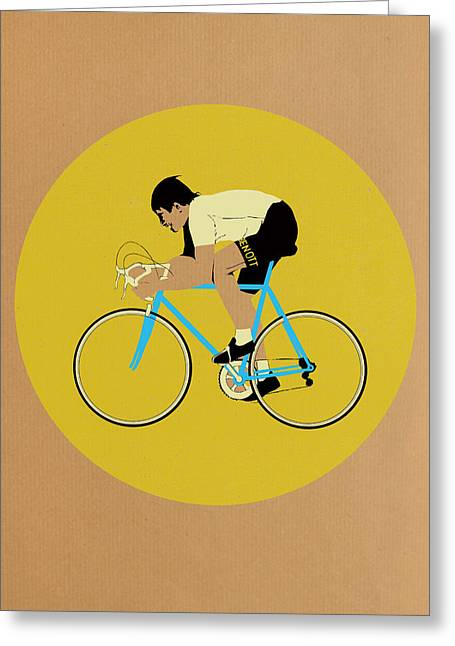 Blue Bike Greeting Cards - Moser Greeting Card by Eliza Southwood