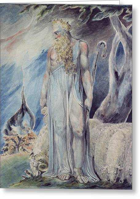 William Blake Greeting Cards - Moses and the Burning Bush Greeting Card by William Blake