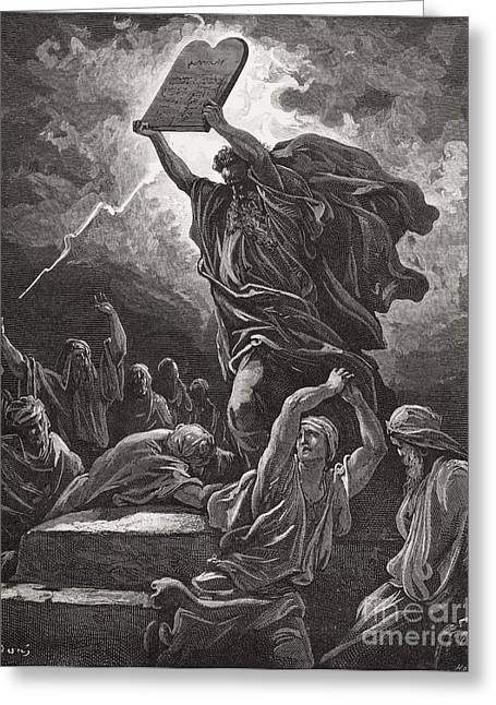 Prophet Moses Greeting Cards - Moses Breaking the Tablets of the Law Greeting Card by Gustave Dore