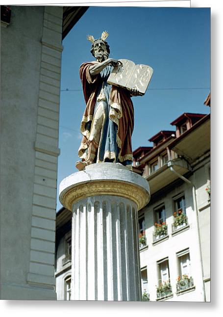Prophet Moses Greeting Cards - Moses Fountain Bern Greeting Card by Jan Faul