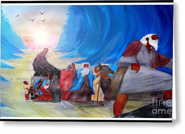 Ilustration Greeting Cards - Moses Leading Through the Red Sea Greeting Card by Justin Moore