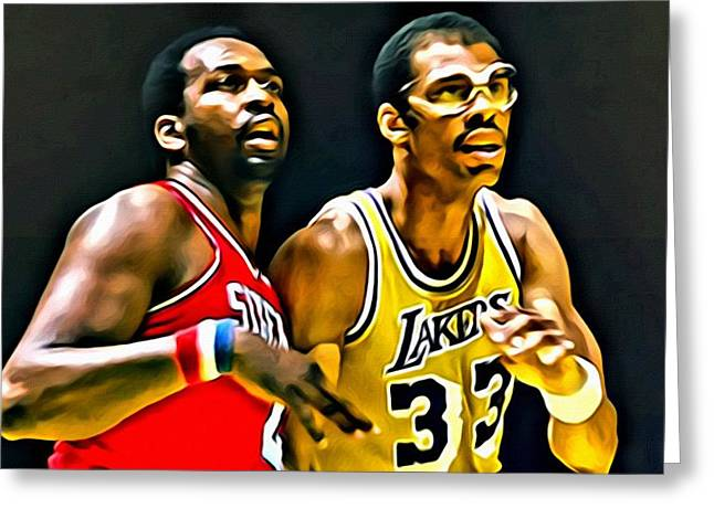 Slamdunk Greeting Cards - Moses Malone with Kareem Abdul-Jabbar Greeting Card by Florian Rodarte