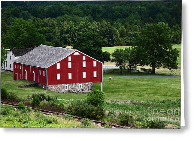 Mclean Greeting Cards - Moses McLean Farm Gettysburg Greeting Card by James Brunker