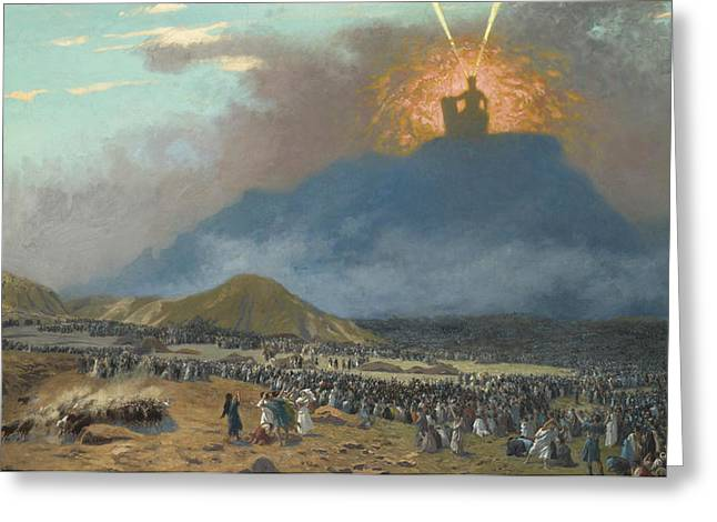 Moses On Mount Sinai Greeting Card by Jean-Leon Gerome