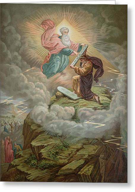 Prophet Moses Greeting Cards - Moses Receives the Tablets of Greeting Card by French School
