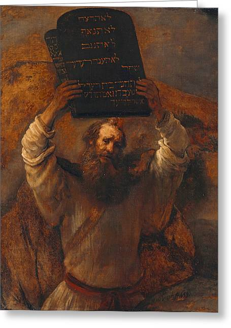 Tablets Of Law Greeting Cards - Moses Smashing the Tablets of the Law Greeting Card by Rembrandt