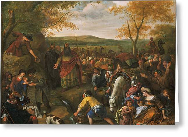Steen Greeting Cards - Moses Striking The Rock Greeting Card by Jan Steen